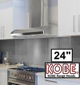 "NEW KOBE WALL MOUNT RANGE HOOD 24"" - 128168987 - STAINLESS STEEL"