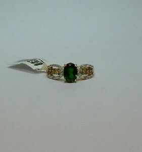 10k Yellow Gold 1.81ctw Oval Russian Chrome Diopside, Alexandrite & Diamond Ring