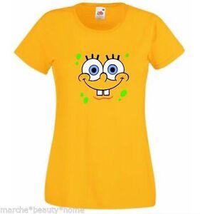 Ladies spongebob lady fit t-shirt medium sponge bob square pants yellow top fun