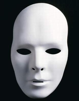 10x Weiße Neutralmaske - Männlich / Venezianische Maske Mann, Domino, Karneval ()