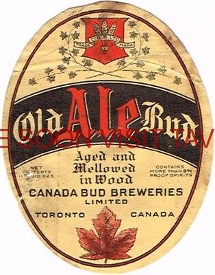 Scarce 1930s Canada Old Bud Ale Beer label Tavern Trove Toronto