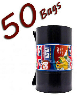 STRONG HEAVY DUTY DUSTBIN LINER BLACK BIN BAG 50 ROLLS THICK RUBBISH WASTE SACKS