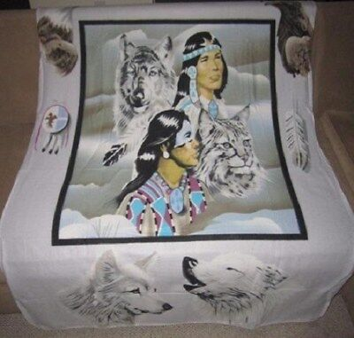 New Southwest Native Indian Chief Wolf Wolves Bobcat Fleece Throw Blanket Eagle, used for sale  Colorado Springs