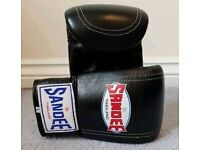 Black Leather Bag Gloves (Large) Muay Thai Boxing MMA Punch