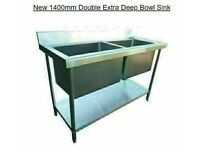 Stainless Steel Sink DEEP POT WASH Double Bowl 1400MM COMMERECIAL