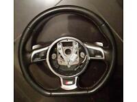 Audi s3 flat bottom steering chrome paddles
