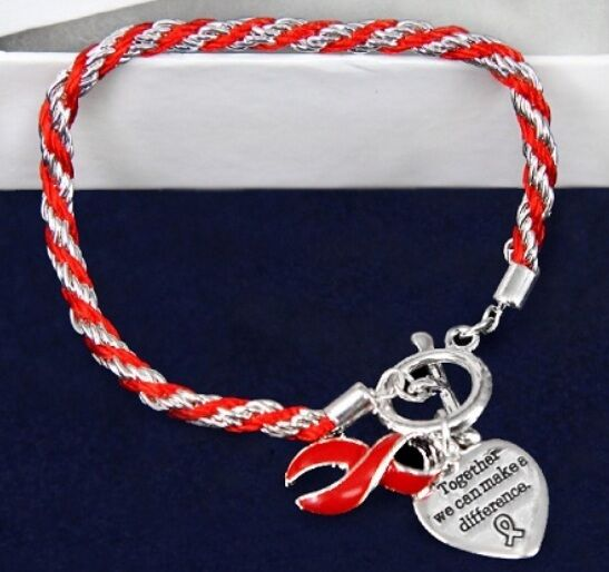 #9041 --RED AWARENESS RIBBON BRAIDED ROPE HEART CHARM TOGGLE BRACELET