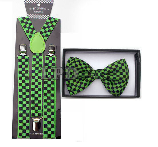 New Unisex Awesome Adjustable Clipon B&g Checker Board Bow Tie & Suspender Set