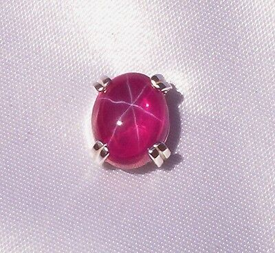 3 CT PLUS BRILLIANT CREATED STAR RUBY MENS TIE TACK PIN SOLID STERLING SILVER