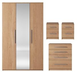 Prague 4-Piece Package - 3 Door Mirrored Wardrobe, 4 Drawer Chest And 2 Bedside Cabinets - NEW OAK.