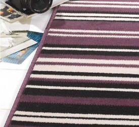 Canterbury Stripe - Purple Black Rug 120 x 160 cm Hard wearing non-shedding £30 Brand new sealed
