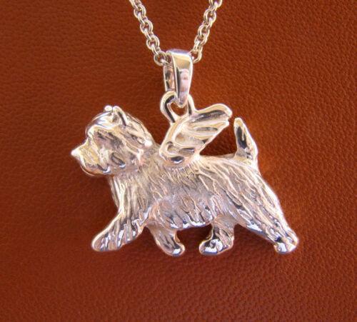 Sterling Silver Cairn Terrier Angel Pendant