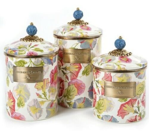3 MacKenzie-Childs Morning Glory Enamel Canisters - Discontinued
