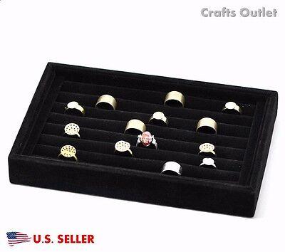 New Velvet 7 Row Ring Display Organizer Ring Storage Box Case Black 8.8''x5.7''
