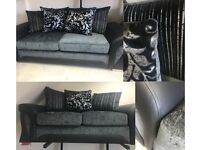 BARGAIN! SOFA SET! FABRIC! FAUX LEATHER! GREY! BLACK! SCATTER CUSHIONS!