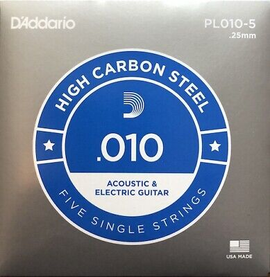 D'Addario Plain Steel Singles Electric or Acoustic Guitar; 5-pack gauge .010, used for sale  Shipping to South Africa