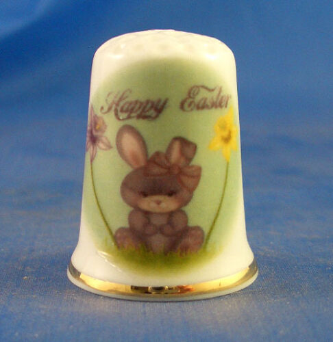 Birchcroft China Thimble -- Happy Easter  - Free Dome Gift Box
