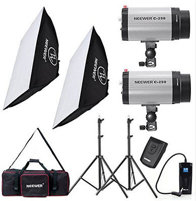 500W Photo Studio Strobe Flash Light Softbox Lighting Kit