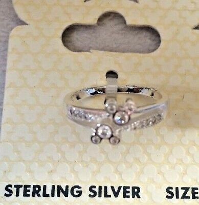 Disney Authentic Sterling Silver Mickey Mouse Icon Crystal Accents Ring Sz 6