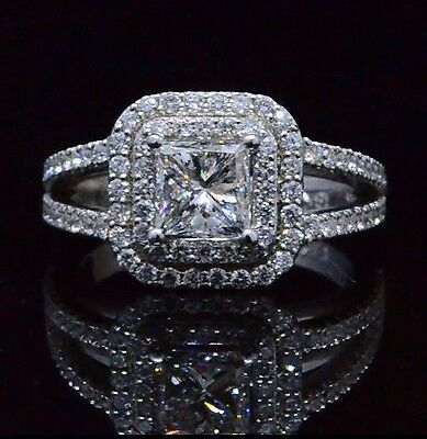 1.81 Ct Princess Cut Diamond Two Halo Split Shank Engagement Ring 14K E,VS1 GIA