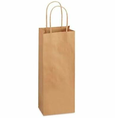 Wine Bottle Paper Shopping Bags W Rope Handles 5.5x3.25x13 Natural Kraft 25