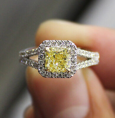 1.70 Ct. Cushion Cut Split Shank Halo Pave Diamond Engagement Ring GIA Certified