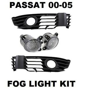 VW-PASSAT-3BG-2000-2005-FOG-LIGHTS-LAMPS-KIT-PAIR-LEFT-RIGHT-AND-GRILLES-NEW
