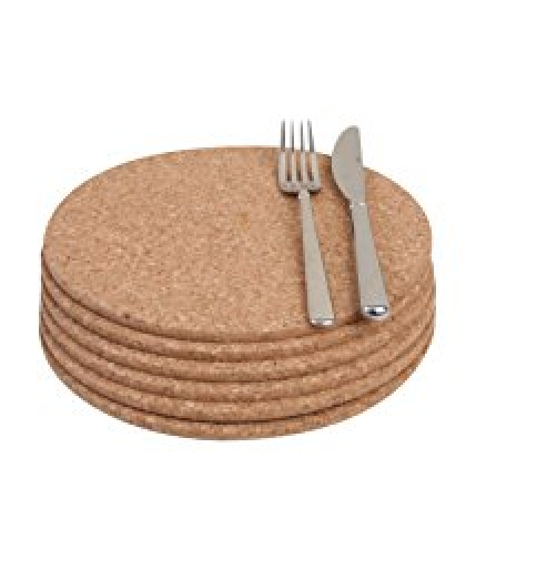 Natural Cork Heat Resistant Placemats Mats Pack of 4 Round 20cm Diameter