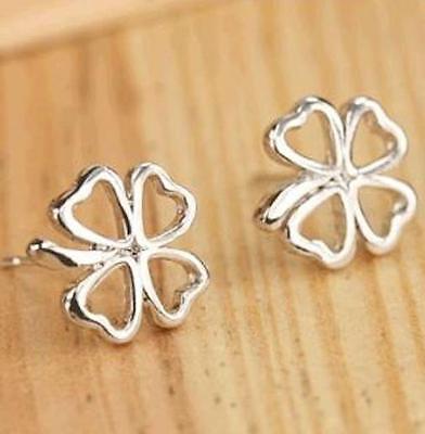 Silver Irish Shamrock Earrings Pierced Plated Post Celtic Clover St. Patricks