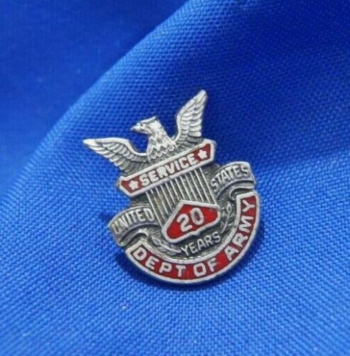 Vintage UNITED STATES ARMY 20 YEARS SERVICE 0.925 sterling silver PIN BROOCH