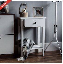 NEW- IN BOX- FLATPACK 2X BEDSIDE TABLE AND 1X DRESSING/CONSOLE TABLE