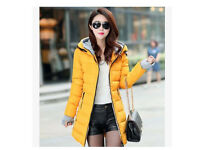 New Women fashion winter long hooded coat with silver grey lining_yellow, UK size 8 - 10