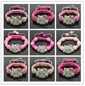 PINK-PINK-PINK-UK-Little-Girls-Shamballa-Hello-Kitty-Style-Bracelets-UK-SELLER