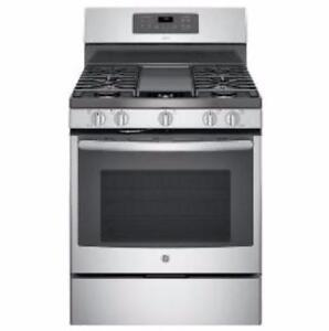 30 GE gas range, TrueTemp convection oven, stainless