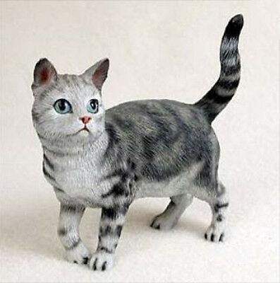 SHORTHAIRED SILVER TABBY CAT Standing Figurine Statue Hand Painted Resin Gift
