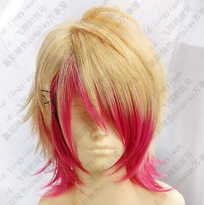 130 Uta no Prince-Sama Kurusu Syo Short Blond Red mix Cosplay Wig free wig cap - Uta Caps