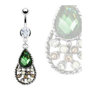 vintage emerald cz teardrop belly navel ring gems dangle