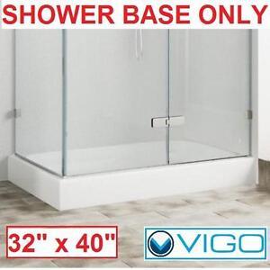 "NEW VIGO RIGHT HAND SHOWER BASE WHITE 32"" x 40"" - BATH BATHROOM SHOWERS BASES TRAY TRAYS PAN PANS ENCLOSURES 105853997"