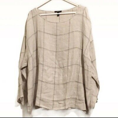 Eileen Fisher Plus 2X Tunic Organic Linen Beige Brown Windowpane Plaid