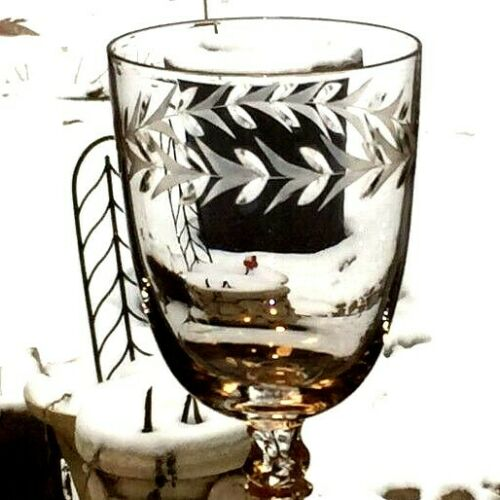 """Set/ 6 FOSTORIA HOLLY Clear 8"""" Tall Water Goblets Wine Glasses Laurel EXCELLENT"""