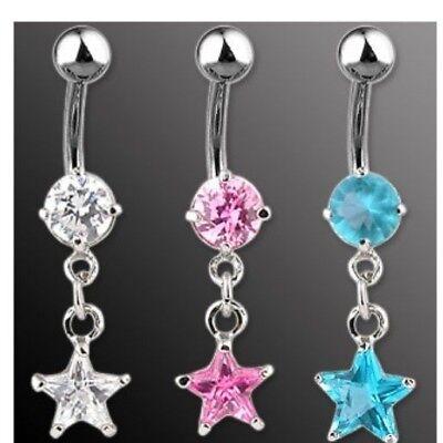 CZ STAR BELLY NAVEL RING RODIUM DANGLE CRYSTAL GEM B446 BUTTON PIERCING (Dangling Star Navel Ring)