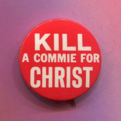 1965 - 67  Anti Vietnam War  &  Anti Christian Support for the War  Protest  Pin