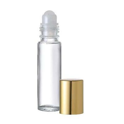 6 Glass Empty Aromatherapy Roller Roll On Bottles 10 Ml  Gold Cap Refillable