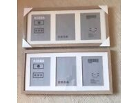 3x Wood & Glass photo frames BRAND NEW