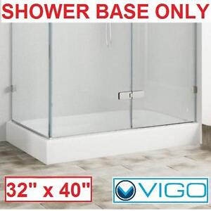 "NEW VIGO RIGHT HAND SHOWER BASE WHITE 32"" x 40"" - BATH BATHROOM SHOWERS BASES TRAY TRAYS PAN PANS ENCLOSURES 105853997"
