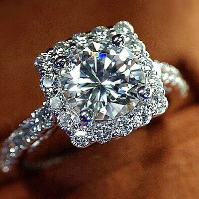 Square Halo 2.86 Ct Round Brilliant Cut Diamond Engagement Ring Pave 14k GIA
