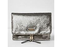 RIVER ISLAND silver sequin fold over clutch zip NEW
