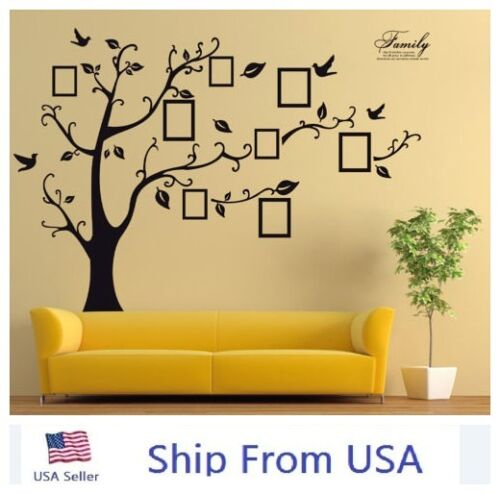 Large Family Tree Wall Decal Black Sticker Vinyl Photo Picture Frame