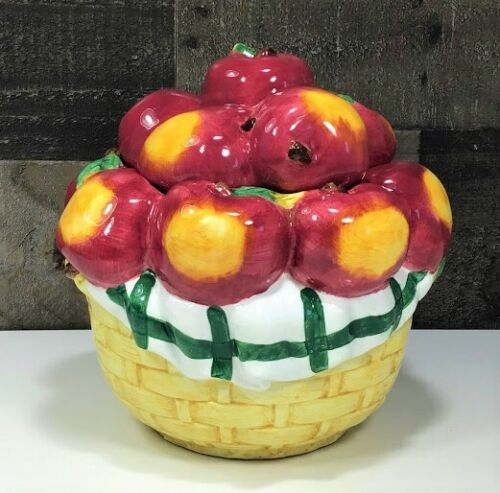 Basket of Apples Cookie Jar 🍎 ~ Country Farmhouse Kitchen ~ Excellent Condition