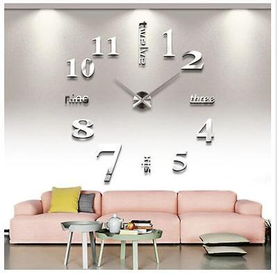 Dekorativ 3D Wanduhr Wohnzimmer Wand Uhr Wandtattoo Nummer-Aufkleber Silbern NEU
